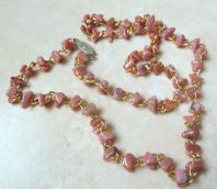 Rhodonite Gem Stone Chip Necklace